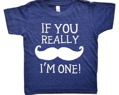 If You Really Mustache I'm One - One Year Old First Birthday Party Shirt - American Apparel Tri Blend Funny Birthday Shirt