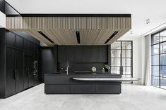 Modern Home Decor Kitchen Timber Ceiling, Masculine Kitchen, House Design, Interior, Home Decor Kitchen, Kitchen Interior, Interior Design Kitchen, Wood Slat Ceiling, Modern Kitchen Design