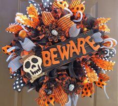 Halloween Deco Mesh Wreath Halloween Burlap by FestivalofWreaths, $109.00