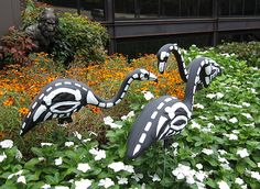 Homemade Halloween decorations-- plastic flamingos modified to show their skeletons