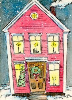 Original ACEO Painting -- Christmas home