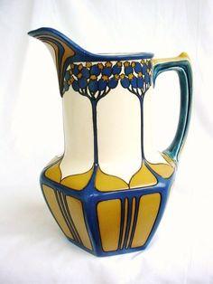 Antiques Romantic Art Nouveau Bottle Vase Mug Um 1900 Stoneware For Sale