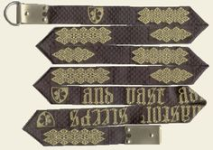 Check out this documentation. If you see she has an extant 15thC belt listed in Nancy Spies' book. Would be worth asking around?