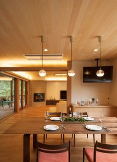 Likes: the position of the fireplace to the TV to the expansive windows of the living room + dining room Japanese Interior Design, Minimalist Dining Room, Minimalism Interior, Japan Modern House, House Design, Home Room Design, Contemporary House, House Paint Interior, House Interior