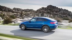 Side view of the new Mercedes-Benz GLC Coupé on the road.
