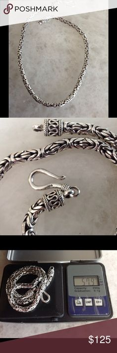 STUNNING STERLING BYZANTINE CHAIN This is a never worn Sterling silver chain.  16 inch, Byzantine link.  New, now tag.  Marked 925 and weighs 57+ grams. Jewelry Necklaces