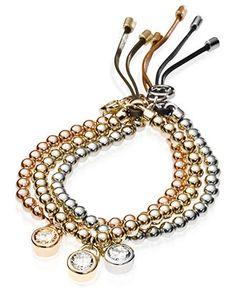 Michael Kors Bracelet, Tri-Tone Beaded Bundle Padlock Bracelet - Only @ Macys! - All Fashion Jewelry - Jewelry & Watches - Macy's
