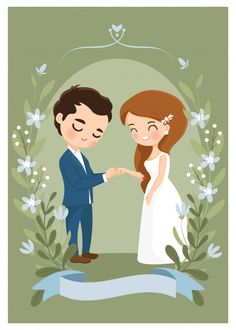 Cute couple wear a wedding ring on weddi. Bride And Groom Cartoon, Wedding Couple Cartoon, Wedding Illustration, Couple Illustration, Cute Cartoon Pictures, Cartoon Pics, Engagement Invitation Cards, Wedding Invitations, Wedding Stationery
