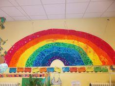 L'arc en ciel de la classe (peinture, tri de couleurs et collage) Le tri de bouchons