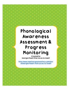 FREE Phonological Awareness Inventory for RTI & Progress Monitoring-- by Georgia Peach That Loves to Teach Reading Fluency, Reading Intervention, Kindergarten Reading, Reading Skills, Teaching Reading, Teaching Language Arts, Speech Language Pathology, Speech And Language, Phonological Awareness Activities