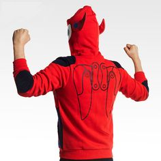 Baymax Hoodie Red Full Face Zipper Cosplay Sweatshirts For Boys