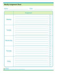Assignment Sheet Can Help Kids And Parents Stay On Top Of Their
