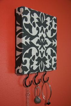Jewelry / Accessory / Key Hanger in Beige and Dark Gray Damask
