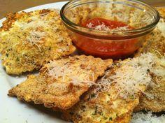 easy oven-toasted ravioli with marinara