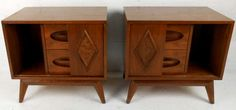 Pair of Unique Mid-Century Walnut Nightstands | From a unique collection of antique and modern night stands at https://www.1stdibs.com/furniture/tables/night-stands/