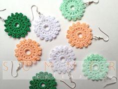 Crochet Earrings flower earrings crochet flower by AliceRemembers, $15.00