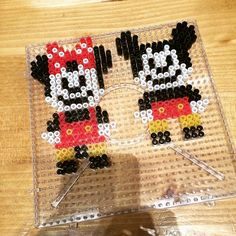 Minnie and Mickey Mouse perler beads by knahyun