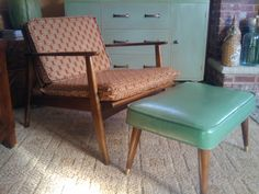 60's chairs... $10 each, from Big John's Flea Market! Re-Upholstered in drapery fabric from  JCPenney!