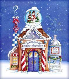 Diciembre Christmas Scenes, Christmas Villages, A Christmas Story, Christmas Art, Vintage Christmas, Christmas Holidays, Christmas Drawing, Christmas Paintings, Christmas Crafts