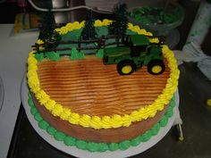 tractor cakes for kids birthday | Great creative use of trees on this girl's John Deere birthday cake: