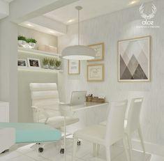 Consultório odontológico clean, com tons claros, aconchegante