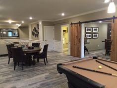 Narrow Basement Ideas, Finished Basement Designs, Gray Basement, Basement Living Rooms, Game Room Basement, Basement Bar Designs, Basement Layout, Modern Basement, Basement House