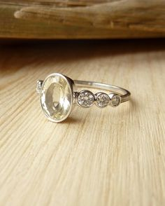 Oval Gemstone and Diamond Ring Bezel Set Ring by kateszabone