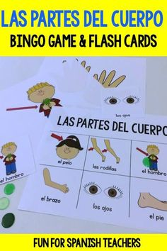 """Bingo games are great to review and support the vocabulary you are exploring in class. They're a fun way to provide repetition. Use the game's call-out cards to introduce the vocabulary. Invite your students to create simple sentences such as: """"Es la mano"""" or """"Son las manos"""" Have the children repeat the vocabulary after you when playing the bingo game. Again, invite them to use simple sentences when going over the bingo answers out loud with the winners."""