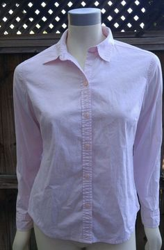 Eddie Bauer Pink Button Down Shirt Womens Small Career Casual Blouse Cotton Blen…