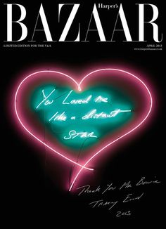 """To celebrate """"The Next Day,"""" David Bowie's first album in 10 years, UK artist Tracey Emin worked with Harper's Bazaar to showcase her personal tribute to. Tracey Emin, V & A Museum, Saatchi Gallery, Magazine Cover Design, Magazine Covers, Love Me Like, The V&a, Harpers Bazaar, Editorial Photography"""