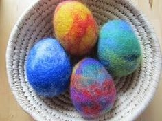 wet-felted shaker eggs.  Love the rainbow one.