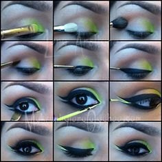 Love green. Most of the items are MAC except the liquid liner! Start with bitter shadow  239 brush on inner corner. Applied bisque on lid toward outer corner with 217 brush.  Bamboo in the crease blended up toward the brow  with 224 brush. Cork, with a large angle brush, to deepen the crease. Thick liner with blacktrack  210 brush Use a 212 flat liner brush to smudge carbon under the eye-add smolder pencil in waterline. Line the inner and outer eye with lime crimes citreuse liqu