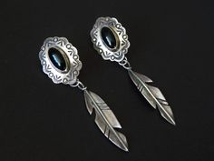 Vintage sterling silver and onyx earrings by RedeemedRegalia, $56.00