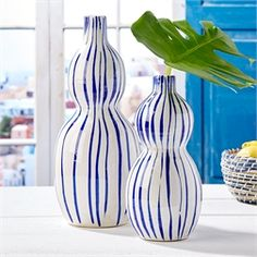 Two's Company - Two's Company Vases & Jars & More: Attractive crackled ceramic vases in two generous sizes ready to decorate a room. Whether a seaside theme or blue and white scheme, these vessels will look posh! Smaller is 11 Living Room Playroom, Hanging Vases, Blue And White Vase, Two's Company, White Home Decor, White Houses, Home Decor Accessories, Home Accents, Modern Decor