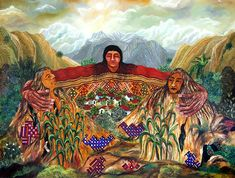 Paula Nicho Cúmez  Nuestra Madre Tierra  / Our Mother Earth  - Oil on canvas - 24 x 32 in.  2010