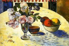 Paul Gauguin, Flowers in a Fruit Bowl - 1894