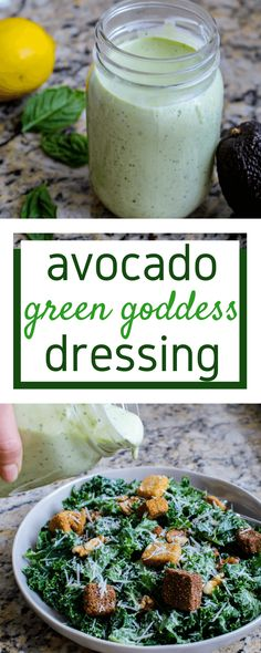 Avocado Green Goddess Dressing is healthier, perfect for meal prep, and can be made paleo/whole30 compliant! via @allyscooking