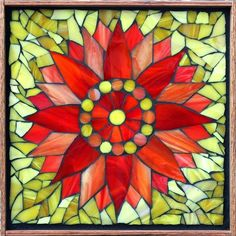 "Student Work - Framed Stained Glass Mosaic Sunflower 12"" x 12"" created by Candy in a Stained Glass Mosaic Flower Workshop with Artist Kasia Polkowska - View the list of locations and dates for Kasia's Workshops Here: http://kasiamosaicsclasses.blogspot.com/"