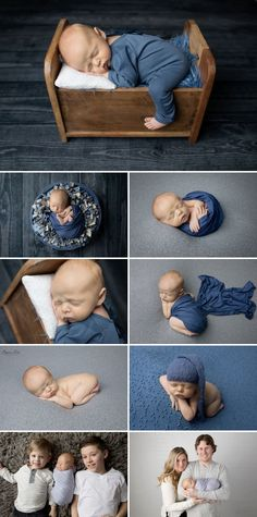 10 day old Sloan and his blue and grey studio newborn photo shoot with Sunny S-H Photography Winnipeg.