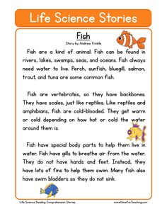This Fish Life Science Reading Comprehension Worksheet will help your students build their reading comprehension skills while reading a non-fiction text about fish. First Grade Reading Comprehension, Phonics Reading, Reading Comprehension Worksheets, Reading Passages, Teaching Reading, Comprehension Strategies, Reading Response, Kindergarten Reading, First Grade Worksheets