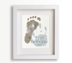 ❤️ this idea for the baby scrapbook! First Birthday Art Print - Personalized Hand and Foot Prints - - Personalized Decor, Children Decor, Keepsake, Footprint, Handprint Baby 1st Birthday, First Birthday Parties, First Birthdays, Birthday Ideas, First Birthday Crafts, Birthday Quotes, First Birthday Decorations Girl, First Birthday Activities, Daddy Day