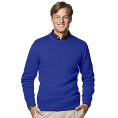 XQS Mens Fashion Knitted Crewneck Custom Fit Color Block Pullover Sweaters