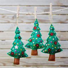 Conjunto de 3pcs hecho a mano fieltro árboles, árboles de Navidad de fieltro adornan conjunto, decoración de vacaciones