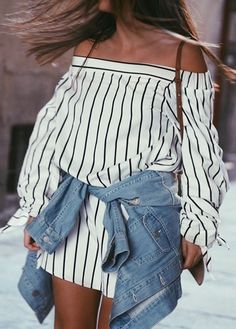 White striped off the shoulder dress + denim jacket