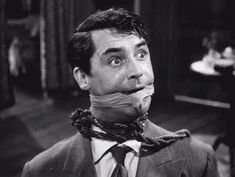 Cary Grant in Arsenic and Old Lace. What a great job he did in this movie. Actors talking to the camera? He did it way back before films like 'Ferris Bueller's Day Off'. Love it.