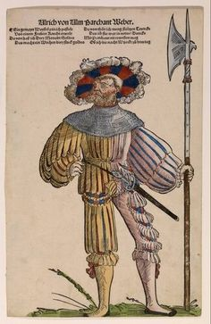 Niklas Stoer - Ulrich von Ulm Barchant Weber - circa 1530 Like Steffan Goldschmidt has weaver's work given to his craft landsknecht be. He's lucky the mercenaries to 'waver' to be chosen, a well-paid job with triple pay. A waver assisted the veldwevel in preparing and practicing the march and battle. He was also an important intermediary between the mercenaries and their captain.