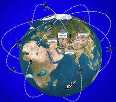 Grafické schéma globálního navigačního a telekomunikačního systému družic Goněc-M, které létají kolem Země na kruhových polárních drahách ve výškách 1350-1500 km. Obrázek: Zdroj Roscosmos