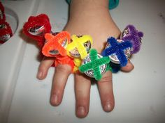 valentines rings for my grandaughter's kindergarten class made from pipecleaners and Hershey Kisses