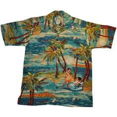 FREE SHIPPING - EVERY ORDER, EVERY DAY! A classic 1930's print by Avanti 'HULA' Awesome Vintage Hawaiian Shirt by Avanti. 100% Silk