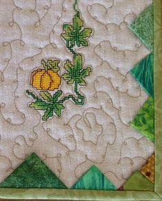 Advanced Embroidery Designs. Quilted Table Runner with Pumpkin Machine Embroidery Designs.